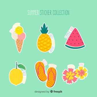 Colección pegatinas verano dibujadas a mano