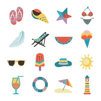 Colección de pegatinas de verano