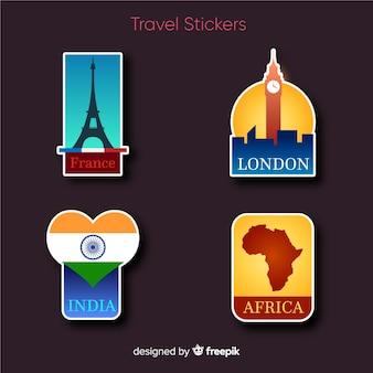 Colección pegatinas viaje ciudades