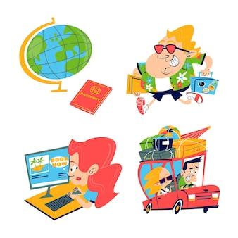 Colección de pegatinas de viaje de dibujos animados retro