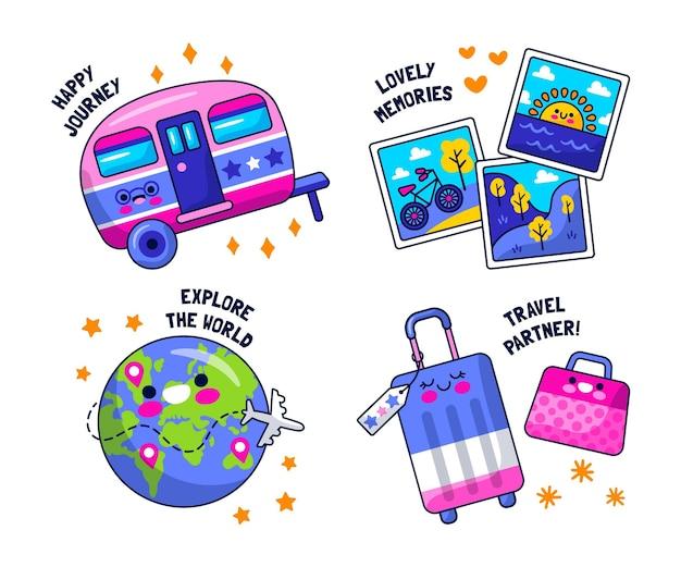 Colección de pegatinas de viaje de diseño plano.