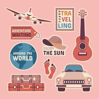 Colección de pegatinas de viaje en estilo años 70