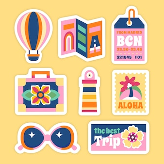 Colección de pegatinas de viaje estilo años 70