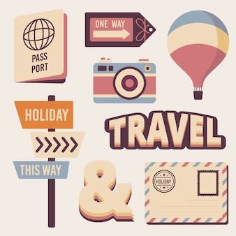 Colección de pegatinas de viaje en estilo retro