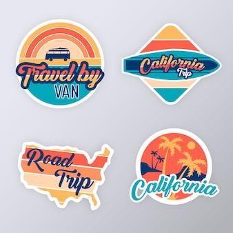 Colección de pegatinas de viaje estilo retro