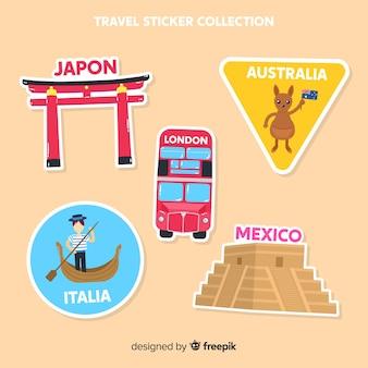 Colección pegatinas viaje planas
