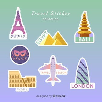 Colección de pegatinas de viaje