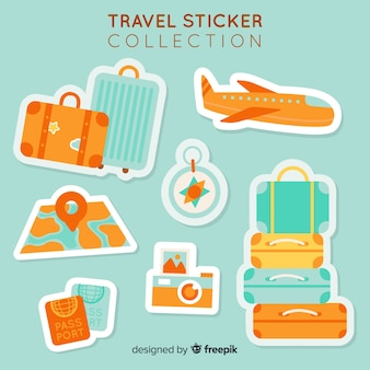 Colección de pegatinas de viajes en 2d