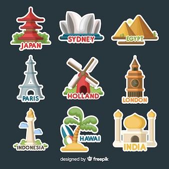 Colección de pegatinas de viajes en diseño plano