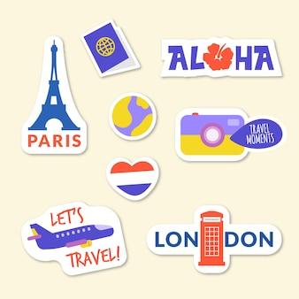 Colección pegatinas viajes planos
