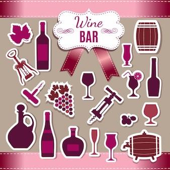 Colección de pegatinas de vino