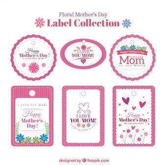Colección de pegatinas vintage de feliz día de la madre