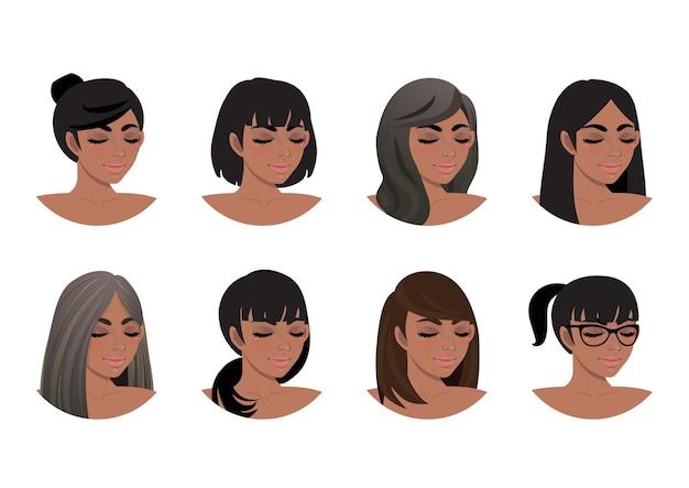 Colección de peinados de mujeres afroamericanas. avatares de vista 3/4 de mujeres negras