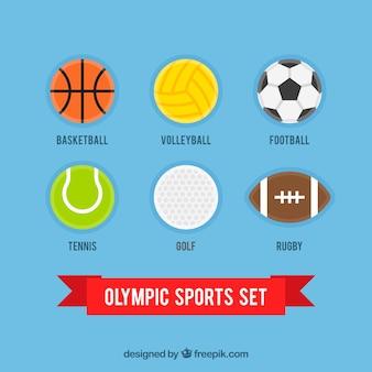 Colección de pelotas planas de los juegos olímpicos