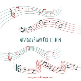 Colección de pentagramas con notas musicales