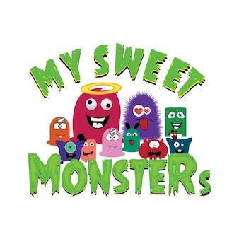 Colección de pequeños y divertidos monstruos