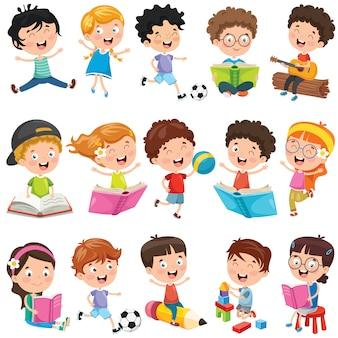 Colección de pequeños niños de dibujos animados
