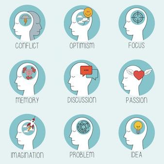 Colección perfil cabeza humana cerebro
