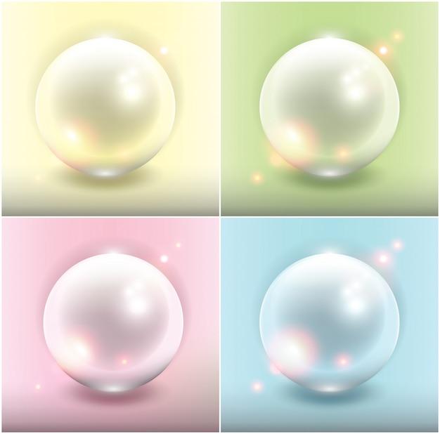 Colección de perlas realistas. perlas amarillas, verdes, azules y rosas.
