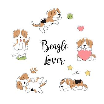 Colección de perros beagle dibujados a mano