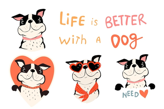 Colección de perros lindos, bulldog francés o pug con cotización y cartel de explotación. símbolos de los amantes de las mascotas con forma de corazón. divertidas imágenes prediseñadas de vector en estilo plano simple para los amantes de los perros.