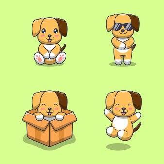 Colección de perros lindos. estilo de dibujos animados plana