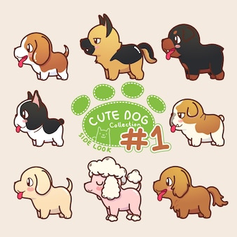 Colección de perros lindos mirada lateral 1
