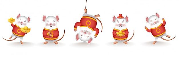 Colección de personaje de dibujos animados de rata con oro chino en diferentes actividades