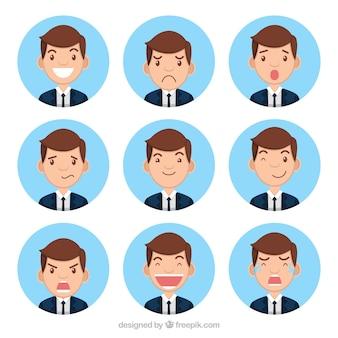 Colección de personaje de hombre de negocios con nueve caras expresivas