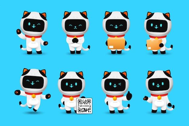 Colección de personaje lindo robot gato