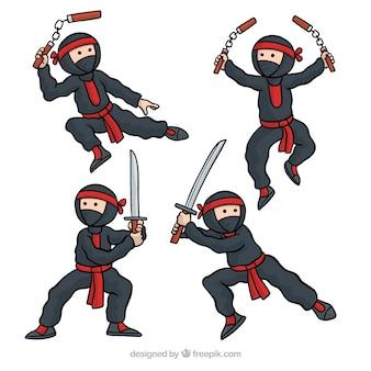 Colección de personaje de ninja dibujado a mano