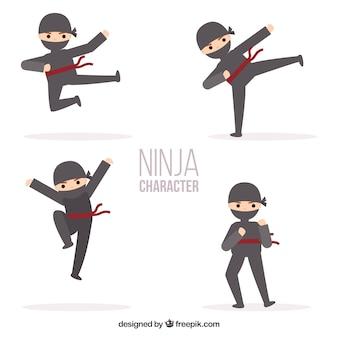 Colección de personaje de ninja con diseño plano en distintas posturas