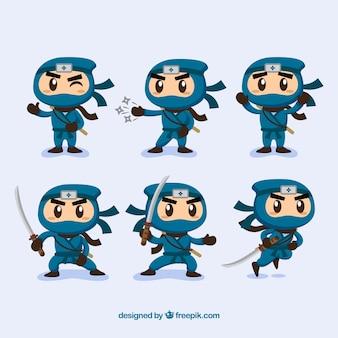 Colección de personaje de ninjas en poses diferentes