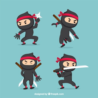 Colección de personaje de ninjas con poses diferentes