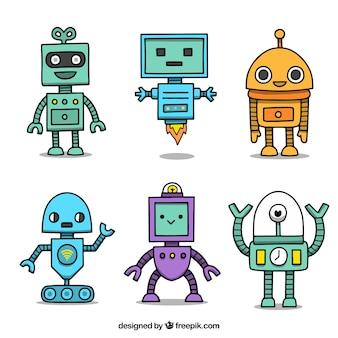 Colección personaje de robot dibujado a mano