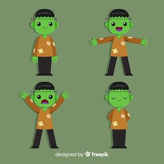 Colección de personaje de zombie de halloween con diseño plano