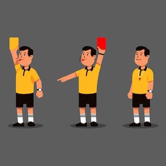 Colección de personajes de acción de árbitro de fútbol de hombre
