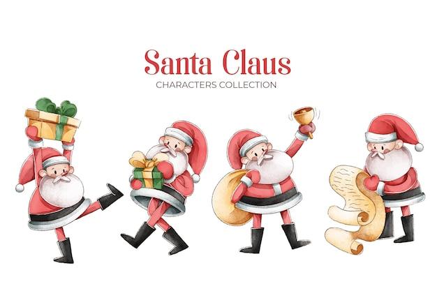 Colección de personajes de acuarela de santa claus