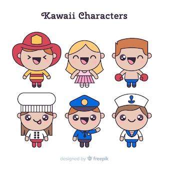 Colección personajes adorables dibujados a mano