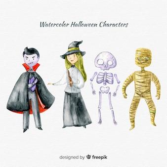 Colección de personajes adorables de halloween en acuarela