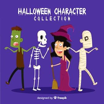 Colección de personajes adorables de halloween dibujados a mano