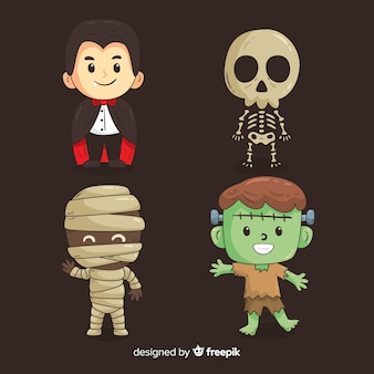 Colección de personajes adorables de halloween