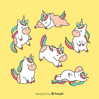 Colección de personajes adorables kawaii de unicornios