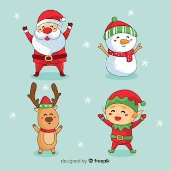 Colección de personajes adorables de navidad dibujados a mano