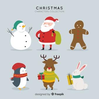 Colección de personajes adorables de navidad en diseño plano