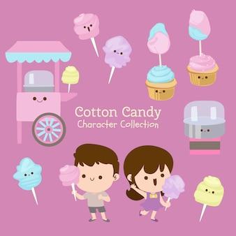 Colección de personajes de algodón de azúcar