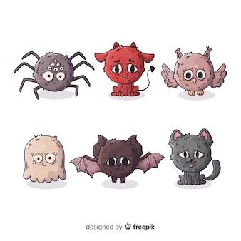 Colección de personajes de animales de halloween dibujados a mano