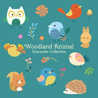 Colección de personajes animales de woodland