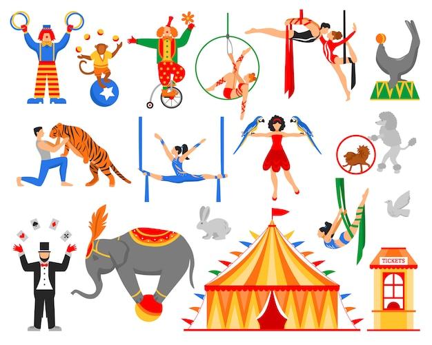 Colección de personajes de artista de circo