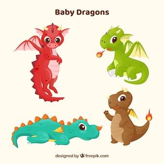Colección de personajes de bebé de dragón con diseño plano